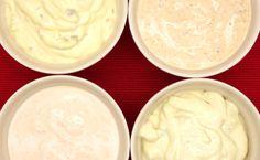Kokoelma erilaisten dippikastikkeiden ja majoneesipohjaisten kastikkeiden reseptejä. Tee kotona esim. Hesburgerin kuuluisat majoneesit!