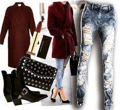 según #stradainvoga el color #Marsala y el destroyer sobre denim complementados con accesorios recamados y los ya conocidos stilettos en punta de 12 cmt son tendencia mundial.  Aquí nuestro #outfit recomendado para una #noche de martes #casual  Jean ref VALENTINO disponibles en: Stradainvoga.com  #madeincolombia #Tendencia  #style #fashionstyle #fashion #denim #denimstyle #Calleenmoda #Modaenlacalle #voga #vogue #londres #capitales #fashioncapitals #streetstyle