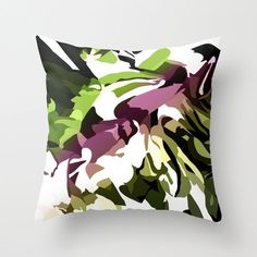 Outdoor Throw Pillow Cover,Green and Magenta, Abstract Art Pillow Cover, Camo Pillow Cover Outdoor Pillow Covers, Decorative Pillow Covers, Throw Pillow Covers, Patio Pillows, Outdoor Throw Pillows, Jungle Flowers, Etsy Crafts, Designer Pillow, Flower Art
