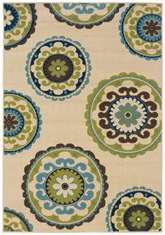 Capri Beige/Green Indoor/Outdoor Area Rug