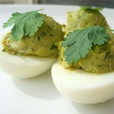 Avocado and Cilantro Deviled Eggs. No mayo just protein and healthy fat. sounds delicious.