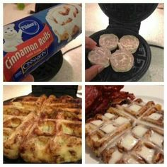 Make use of that dust waffle iron! It creates holes in the cinnamon rolls for the icing, genius!