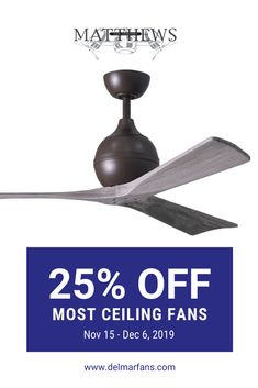 Black Friday is starting early this year! We have so many awesome deals already, but wanted to highlight this one by Matthews Fan Company - 25% OFF most of their ceiling fans (plus free shipping!)  #linkinbio #deal #blackfriday #cybermonday #ceilingfan #fans #homedecor #design #modern #rustic #design