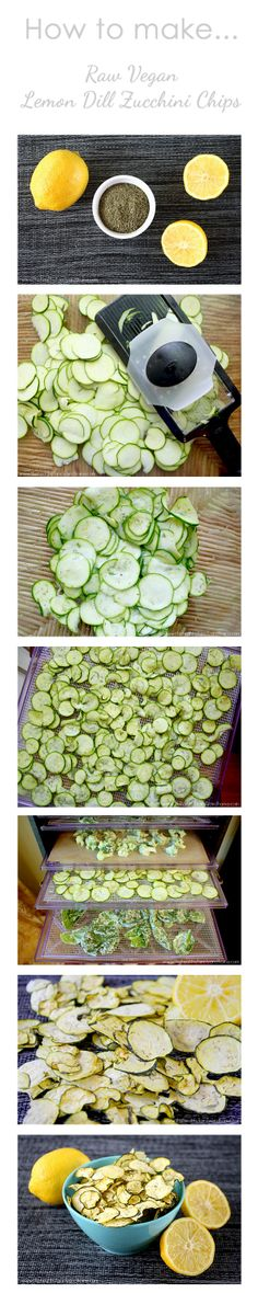 How To Make Lemon Dill Zucchini Chips...raw, vegan, gluten-free, paleo-friendly-- Although I will try making these in the oven with lots of salt.  Ahem.