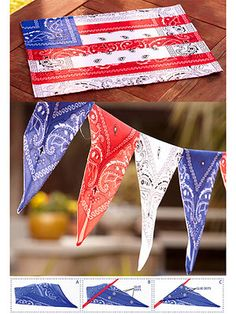 All-American Bandanna Garland and Place Mats: Pay pretty tribute to Old Glory with decorations you can reuse year after year.