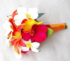 Natural Touch Silk Wedding Bouquet  Red and Orange by Wedideas, $90.00