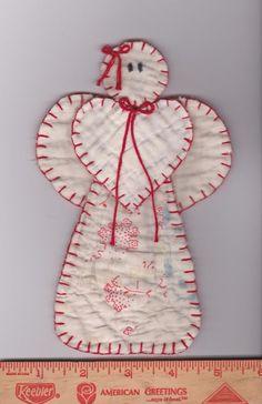 Vintage Dresden Plate Red Blue Cutter Quilt Angel Ornament Card Tuck Package Tag