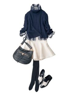 Very cute and girly outfit Japan Fashion, Work Fashion, Daily Fashion, Fashion Looks, Winter Outfits, Casual Outfits, Fashion Outfits, Womens Fashion, Chic Et Choc