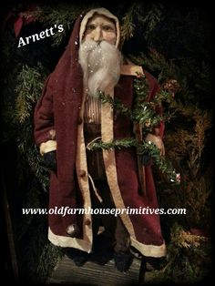 Arnett's Primitive Santa In Red Coat Holding Feather Tree (Made In USA)
