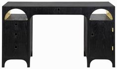 John Reeves design aqueduct desk- black stained with brass interior lining