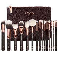 COMPLETE 15 PCS ROSE GOLD MAKEUP BRUSH SET Professional Luxury Set Make Up Tools Kit ZOEVA Powder Blending brushes