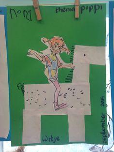 Groep 1 taak: het paard 'Witje' vouwen, knippen en tekenen, Pippi inkleuren en uitknippen. Kids Book Club, Pippi Longstocking, More Fun, Pony, School, Children, Illustration, Pictures, Crafts
