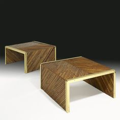 GABRIELLA CRESPI;  Pair of tables, Italy, 1970s; Bamboo, brass, glass; Impressed signature
