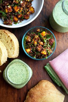 Cucumber & Green Grape Gazpacho // Quinoa Salad with Mango, Lime & Ginger