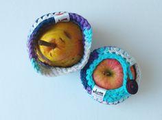 Duo Protège pomme / fruit en coton fait au crochet - Pomme glacée by Lotuspamplemousse on Etsy