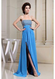 A-line Strapless Empire Floor-length Beaded Bodice Chiffon Sexy Prom Dresses (ED0280) - Simi Bridal