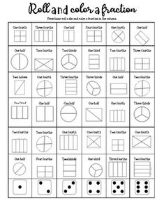 Roll the dice, and color the shape with its corresponding fraction. Kids Math Worksheets, Math Word Problems, Math Fractions, Math For Kids, Educational Activities, Math Lessons, Rolls, Positive Things, Positivity