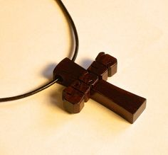 Wood Cross Pendant with Cord - JESUS - Rosewood