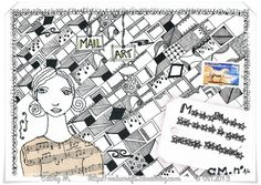 Mail Art Zentangle et Free motion stitching