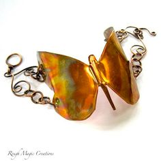 Golden Butterfly Bracelet. Large Copper Cuff Handmade Jewelry by RoughMagicCreations