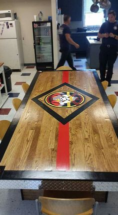 Firehouse 7 awesome new kitchen table built and designed by the firefighters themselves.