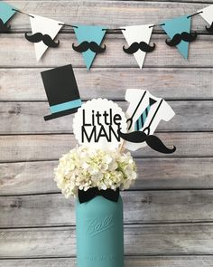 Little man, oh boy baby shower, Mason jar centerpiece, little man props, little man baby shower decor, baby shower centerpieces, little man baby shower centerpieces, oh boy baby shower, mustache baby shower