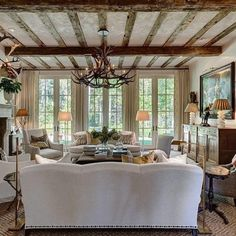 I love the way they did the ceiling beams! Difficult to do good French country b. I love the way they did the ceiling beams! Difficult to do good French country beams with a flat ce Cozy Living Rooms, Living Room Interior, Living Room Furniture, Living Room Decor, Living Spaces, French Country Living Room, French Cottage, French Country Decorating, French Farmhouse