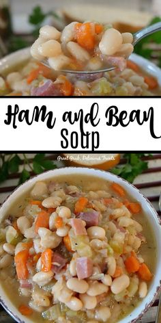 Ham and Bean Soup is a delicious and hearty ham and bean soup loaded with leftover ham beans vegetables and seasoned perfectly Easy Ham And Bean Soup Recipe, Bean Soup Recipes, Chicken Soup Recipes, Bean And Ham Soup, Casserole Recipes, Beans In Crockpot, Ham And Beans, White Bean Soup, Crock Pot Soup