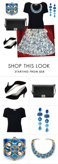 """Black & Blue"" by quasia-taylor on Polyvore featuring Chanel, Frame, Lauren Ralph Lauren and Kenneth Jay Lane"