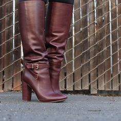 """Oxblood 'Maddock' High Heel Boot Amazing knee-high heeled boots in a gorgeous burgundy color. Features a pointed toe, buckle strap accent on the shaft, inner side zip closure, and a stacked heel. Leather insole, man-made sole. Approx. measurements: heel height 4""""; shaft height 15""""; calf circumference 15.25"""". Worn once. More detail photos to come. My price is firm. No trades. First come, first served. Thank you! :) Ava & Aiden Shoes Heeled Boots"""