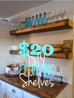 Our Secondhand House: DIY Floating Shelves Tutorial for $20 each! (Original Post by On Bliss Street) ~ shared at Brag About It link party on VMG206 (Mondays at Midnight).