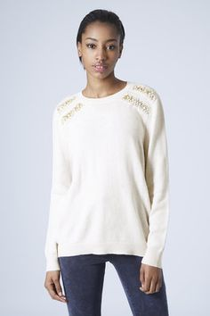 Sweater weather! Love this cream embellished jumper...