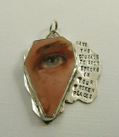 Robin Wade - Have The Courage To Grow pendant - Upcycled Sterling And ceramic