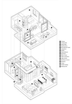Fun-ctional Box apartment in Tel Aviv by K.T project - CAANdesign Architecture Drawing Plan, Architecture Portfolio, Architecture Design, Architecture Diagrams, Axonometric Drawing, Isometric Drawing, 3d Modelle, Duplex Apartment, Interior Sketch