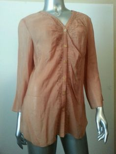 Nwt-J. JILL  Blush Pink Rayon Crinkle Comfy Oversized Embroidered Blouse Sz M #JJill #Blouse #Casual
