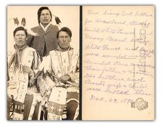 Postcard with a picture of three Sioux who survived the Wounded Knee massacre on this day December 29,1890