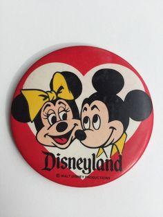 "Vintage Walt Disney Disneyland 1980s Micky Minnie Mouse Button Pin 3 1/2""   | eBay"