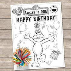 Elmo Coloring Pages Sesame Street Printable Birthday Personalized