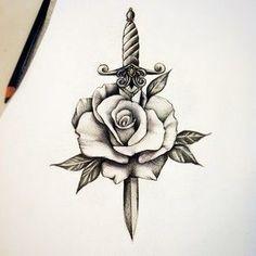 Image result for dagger rose tattoo