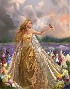 This fairy is the Queen of all good fairies, and her name is Aurum, the Latin word for gold. Someday, she will retire as the fairy queen, and the next worthy fairy will be chosen in her  place.