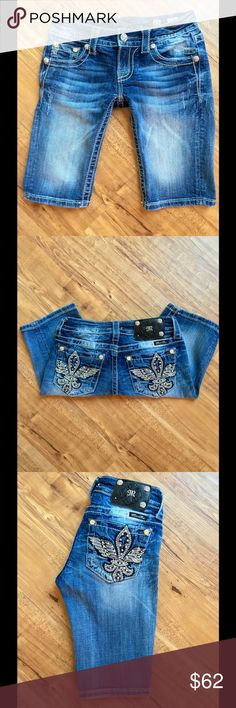 "Miss Me Shorts Bling Miss Me Style Bermuda Denim Shorts! Women's size 25 inseam 11 3/4"" inches! Defect: on back logo one stud is gone but still in tact with stub! Been worn once & washed ! Miss Me Shorts Bermudas"