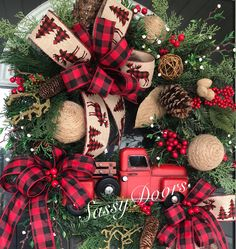 Magnificient Rustic Christmas Decorations And Wreaths Ideas Christmas Wreaths For Front Door, Christmas Door, Plaid Christmas, Holiday Wreaths, Etsy Christmas, Family Christmas, Handmade Christmas, Xmas, Silver Christmas Decorations