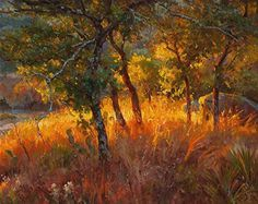 'Fire Light', oil painting of sunset trees by Mark Haworth.