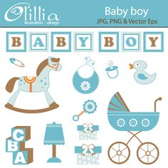 Baby boy - 12 colorful clipart graphics for invitations, scrapbooking, web design and more.