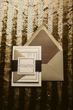 LOVE!!! great gatsby wedding invitations, gold and black invitations, letterpress wedding invitations, eat drink and be married