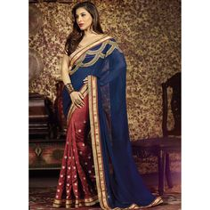 Actress Sophie Choudry looks stunning in this elegant Sophie Red and Blue Embroidered #Saree from the #NewArrivals collection of #Lashkaraa.com priced $115.00 USD