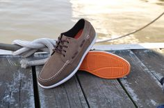 Rugged Shark Whaler:  Soft Suede Leather lace-up moccasin with non-marking, slip-resistant rubber outsole for traction and durability. #boatshoes #ruggedshark #fishing