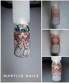 Фотография in 2020 Funky Nails, Love Nails, Vintage Nail Art, Angel Nails, Cat Nails, Girls Nails, Toe Nail Designs, Best Acrylic Nails, Christmas Nail Art