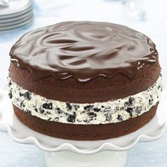 Chocolate-Covered OREO Cookie Cake Recipe from our friends at Philadelphia Cream Cheese