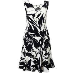 Precis Petite Print Flippy Hem Dress, Black (€120) ❤ liked on Polyvore featuring dresses, petite, sleeveless dress, midi flare dress, petite midi dress, flared dresses and petite length maxi dresses